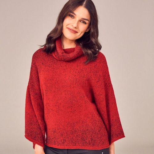Two Tone Red Knit Jumper