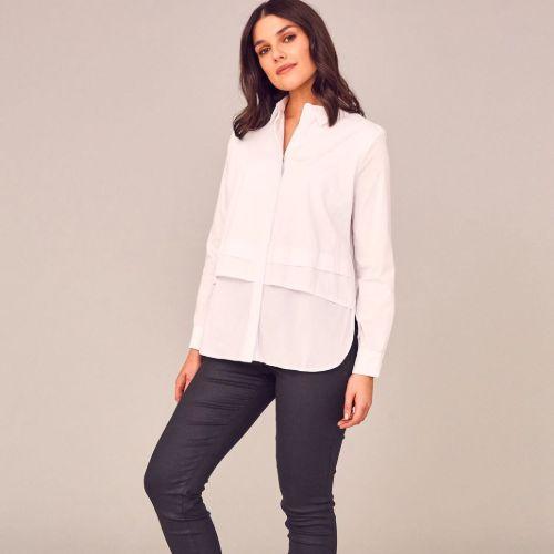 Bottom Pleat White Shirt