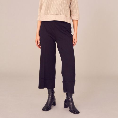Black Turn Up Trousers