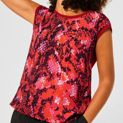 Print T-shirt With Capped Sleeve