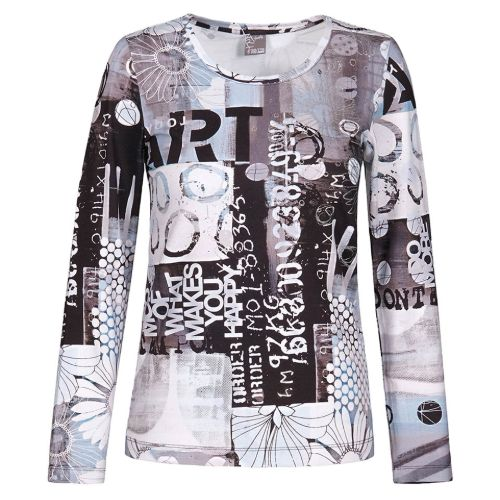 Dolcezza Long Sleeve Absract Print Top