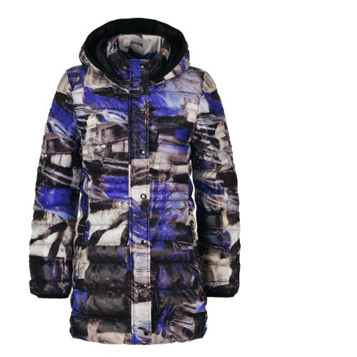 Dolcezza Royal Blue Print Jacket With Hood