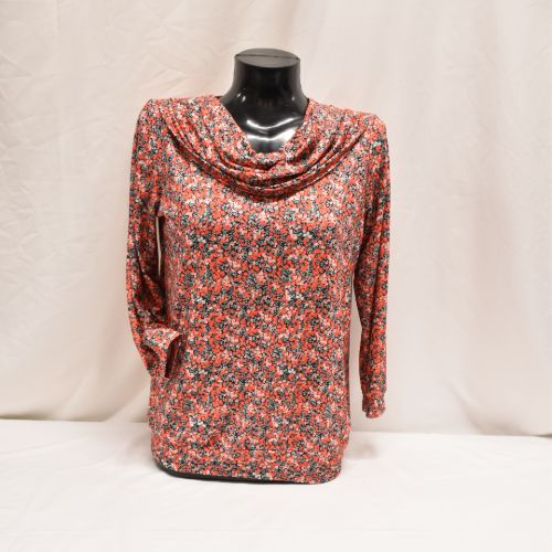 Print Top With Cowl Collar