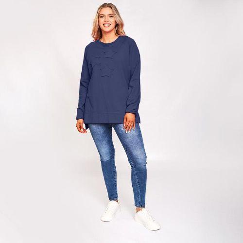 Navy Split Hem Sweatshirt