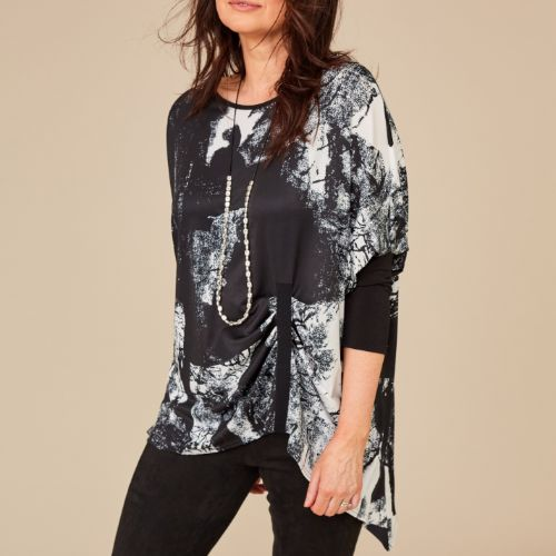 Black & Off White Print Top With Pleat Detail