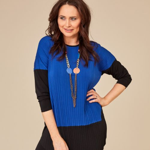 Royal Blue Top With Black Contrast Sleeve