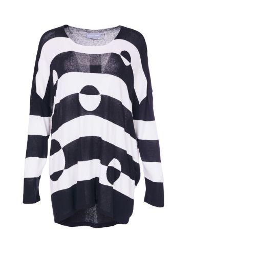 Black & White Stripe/spot Knit Jumper