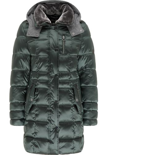 Forest Green Jacket With Hood And Fake Fur Collar