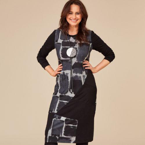 ORA Black & Grey Jersey Print Dress
