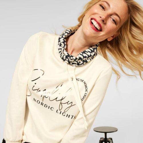 Partprint Sweatshirt With Roll Neck