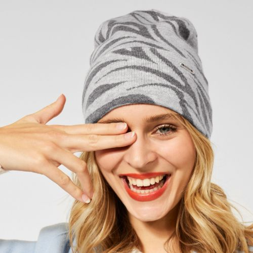 Grey Zebra Print Hat